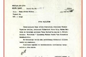 1969 Tunus Kartaca Dünya 1.liği Takdir Belgesi