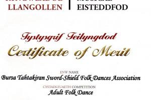 2012 İngiltere Llangollen Dünya 1.liği Sertifika